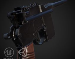 Mauser M712 Full Automatic Pistol 3D asset