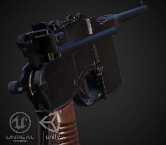 mauser m712 full automatic pistol 3d model low-poly obj 3ds fbx ma mb stl mtl 1