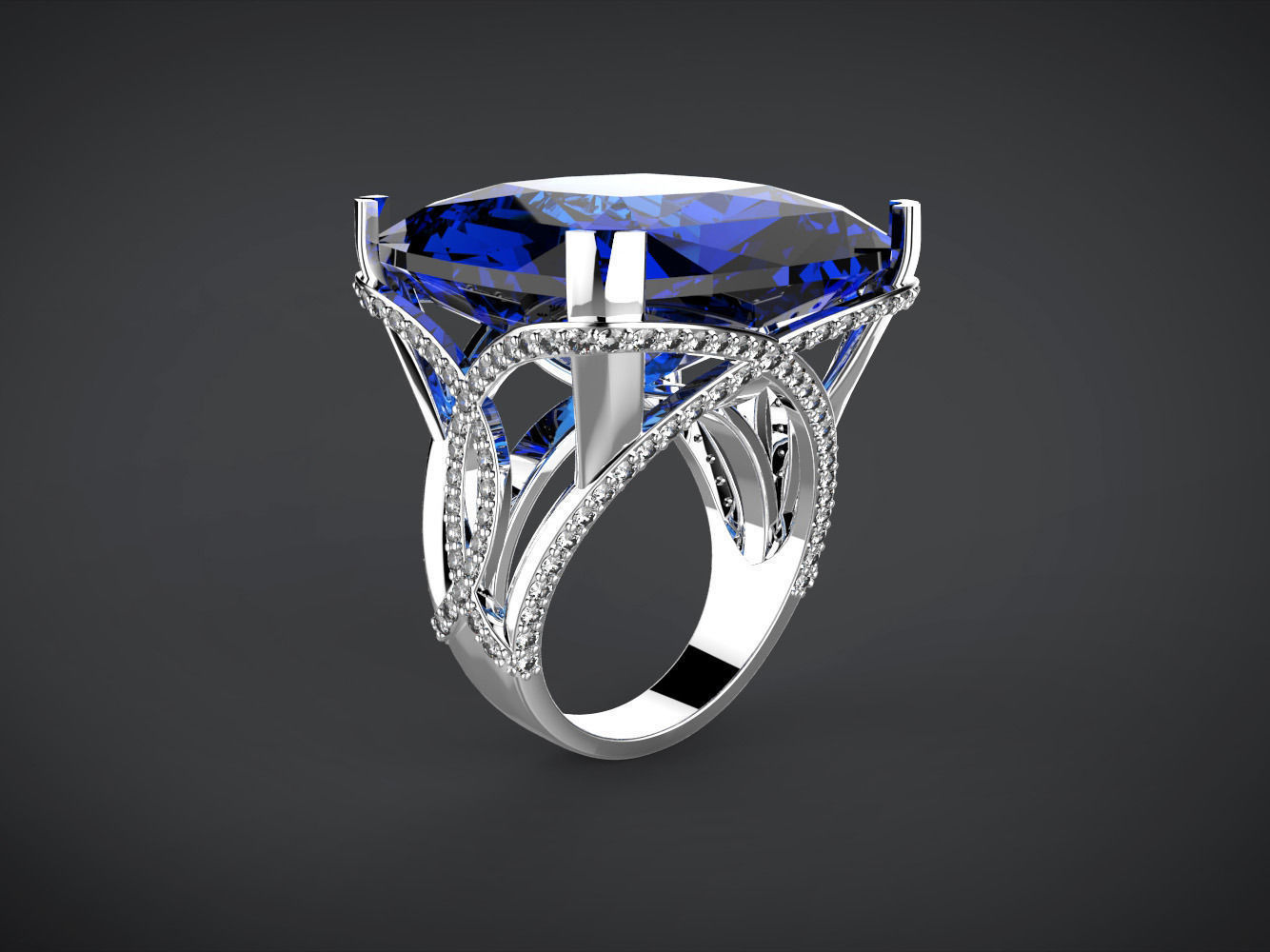 Big blue square stone ring 3D Model 3D printable STL 3DM ... on Granite Models  id=72320