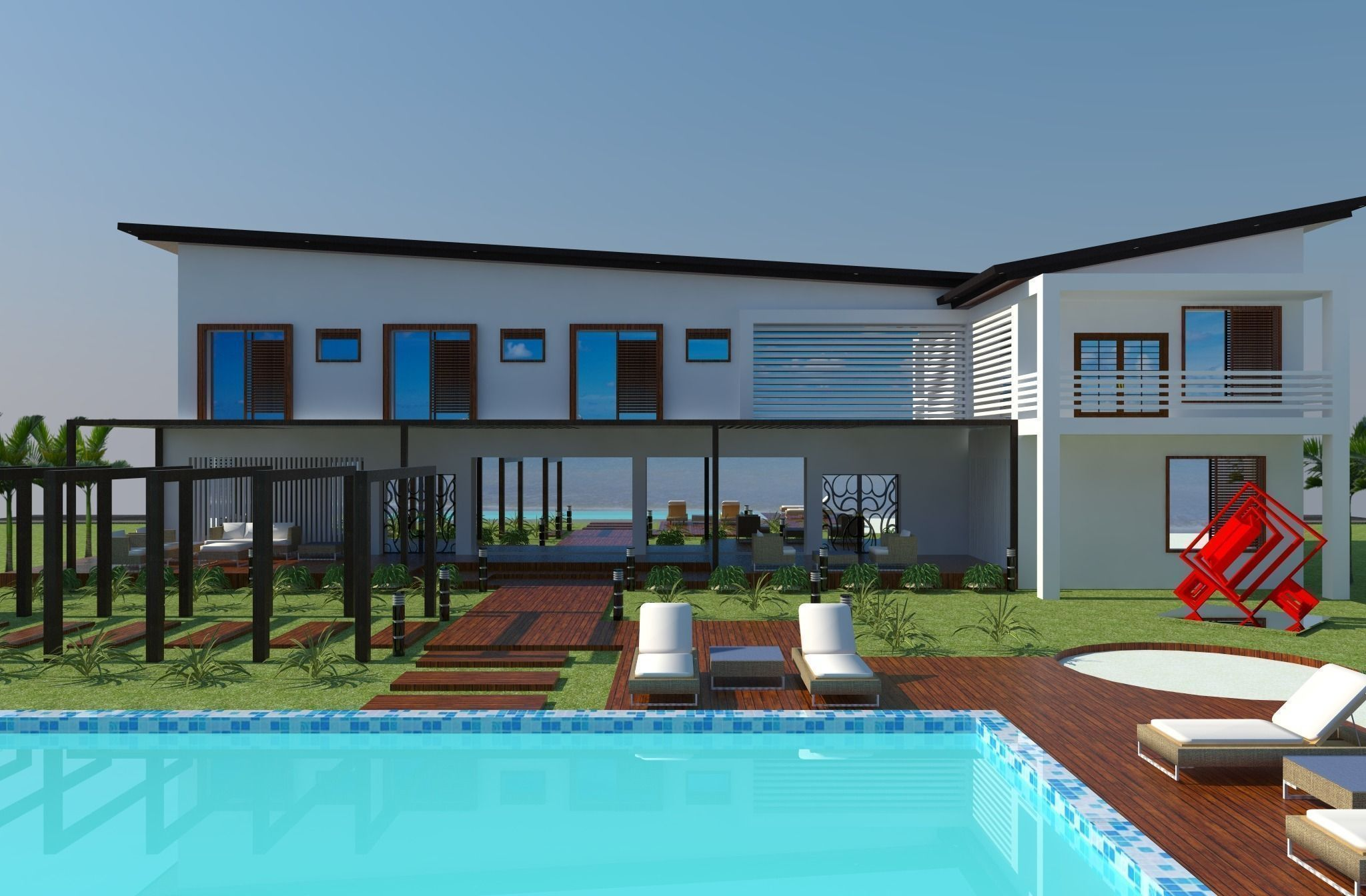 ... Beach House Design 3d Model ...