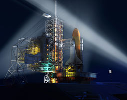 Space shuttle and launch site 3D