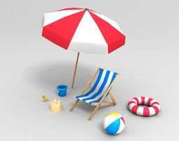 Beach props pack 3D asset