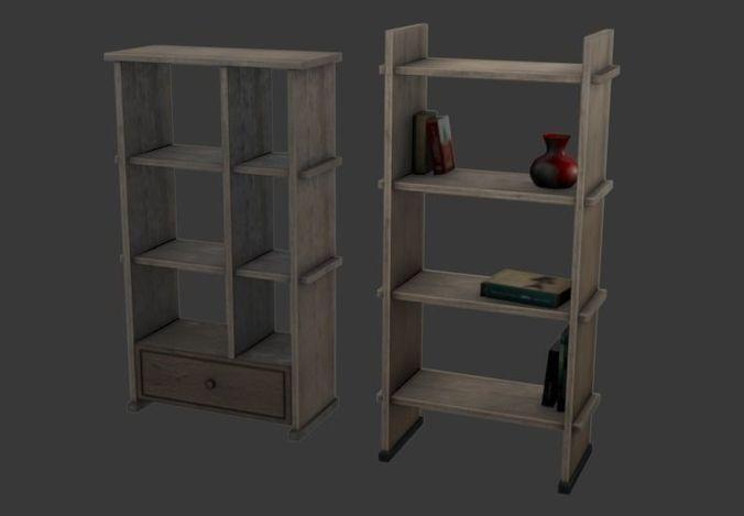 bookshelf 3d model low-poly max obj mtl blend 1