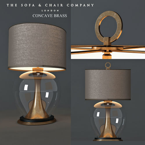 Table lamp concave brass 3d model