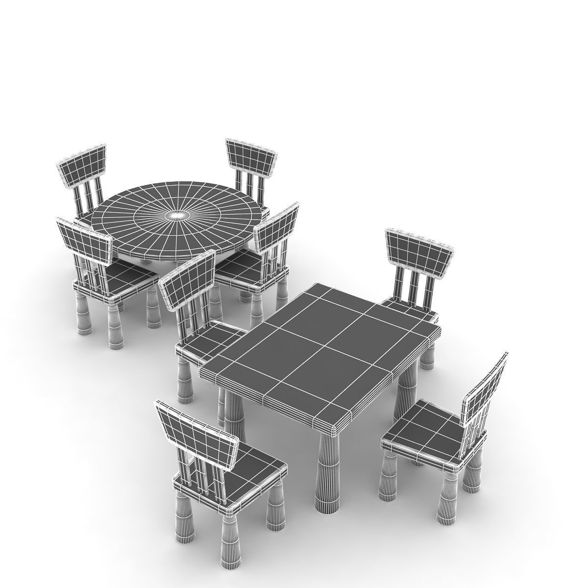 Ikea Mammut Chairs And Table 3d Cgtrader # Muebles Mammut Ikea