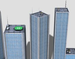 3D model City buildings skyscrappers 8x pack