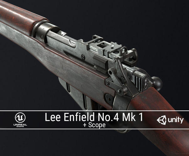 pbr lee enfield no 4 mk 1 3d model low-poly obj fbx ma mb dae 1