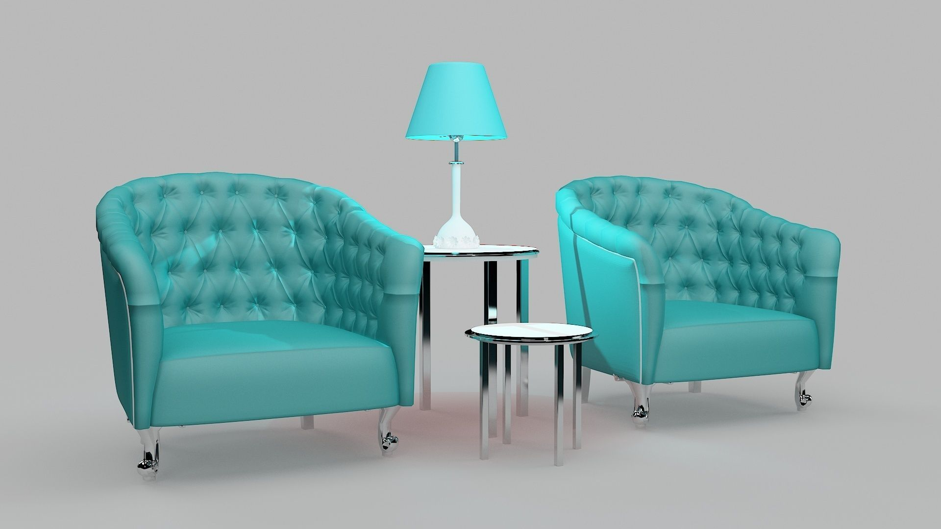 Chairs and lamp