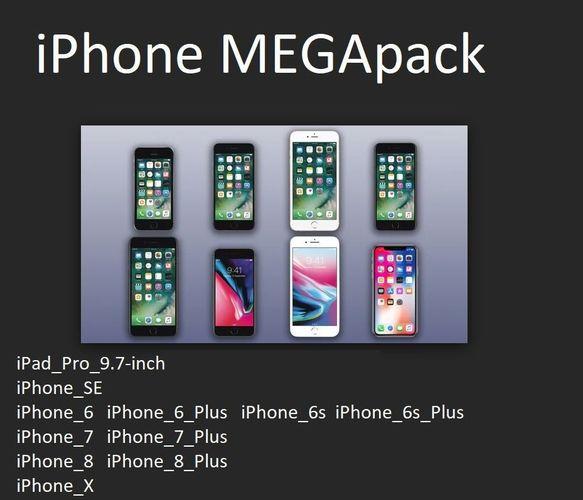 iphone megapack with apple original dimensions 3d model obj mtl stl ige igs iges stp 1