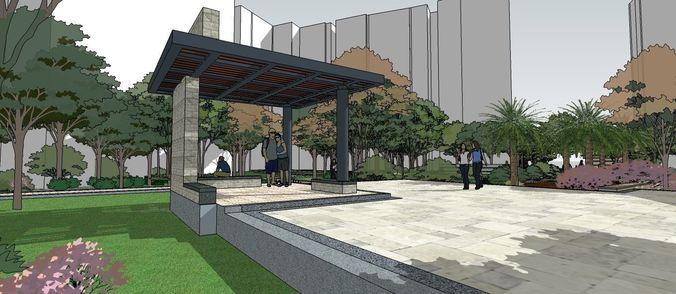 landscape layout for buildings  3d model skp 1