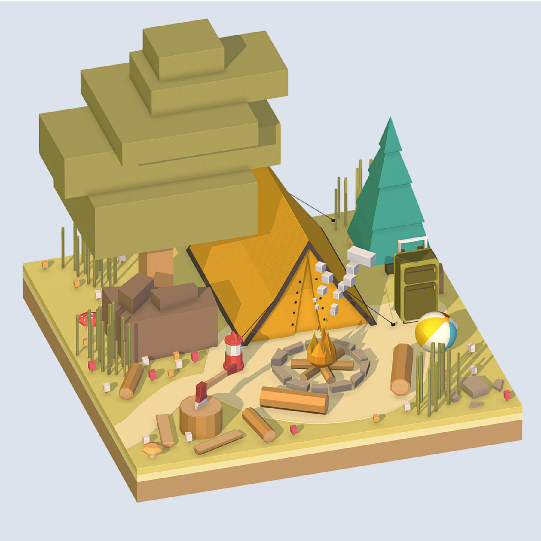 isometric camping ground near a big tree | 3D model