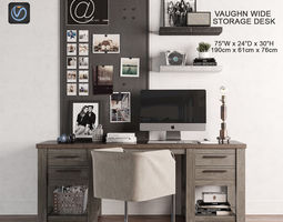 Vaughn Storage Desk 3D