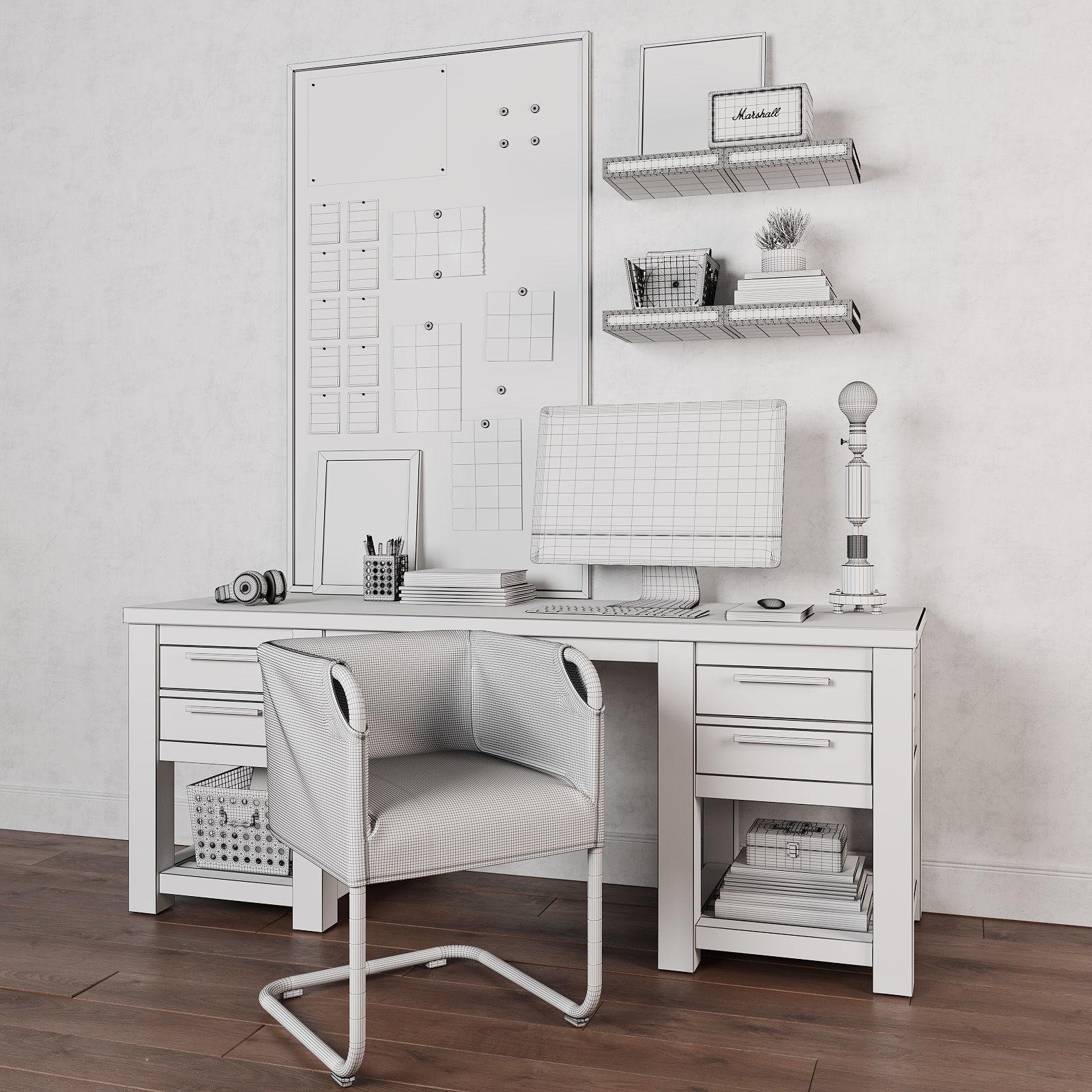 Vaughn Storage Desk 3d Model Max Fbx 6