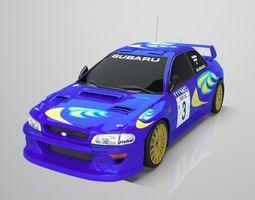 Subaru Impreza WRC 1999 low poly 3D asset