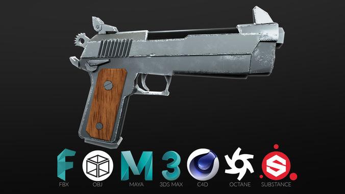 3d model fortnite common pistol cgtrader for Chair in fortnite