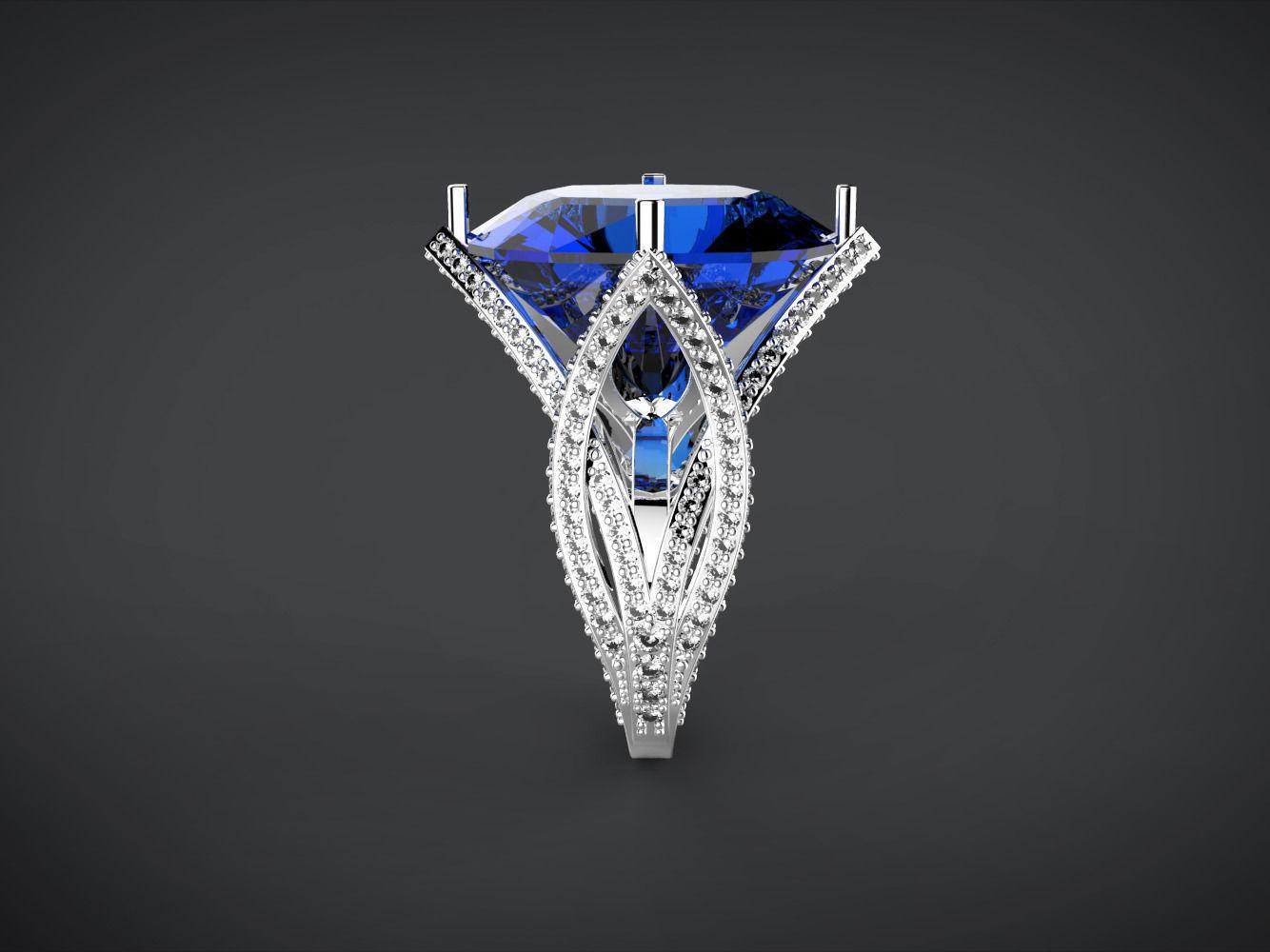 Big Blue Cushion Stone Ring 3d Model 3d Printable Stl