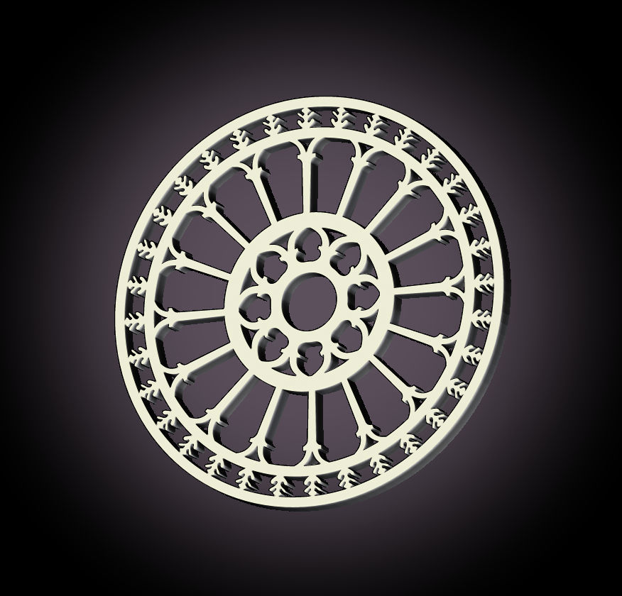 3D print necklace with pendant Medieval rose window Ostuni Cathedral collana con pendente