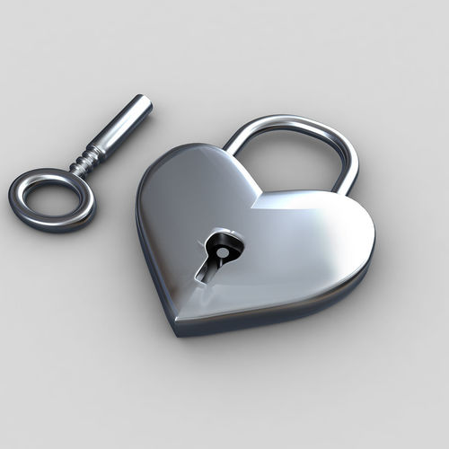 heart lock 3d model max obj mtl 3ds fbx 1