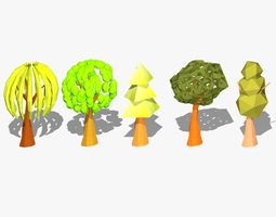 3D asset game-ready Cartoon Trees
