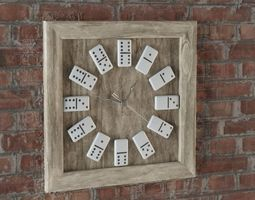 Wooden Domino Wall Clock 3D asset