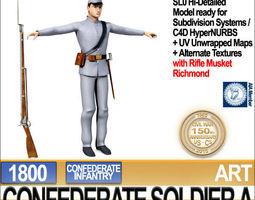 Civil War Confederate Soldier A Infantry 3D Model