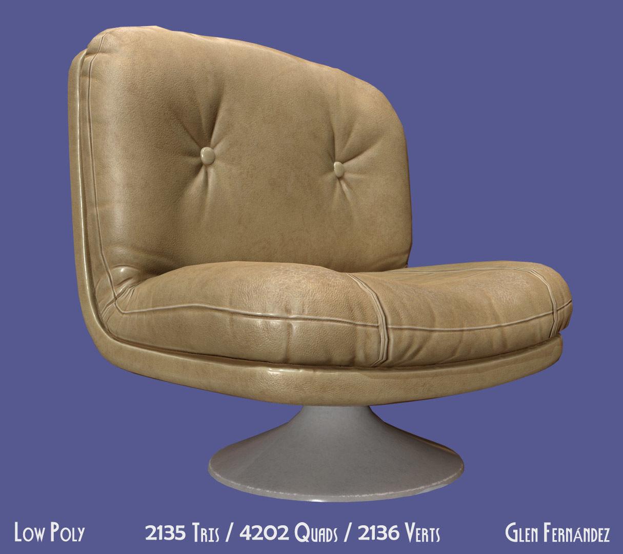 Retro vintage 70s chair cream leather