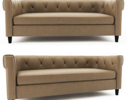 Chester Tufted Leather Sofa west elm 3D model