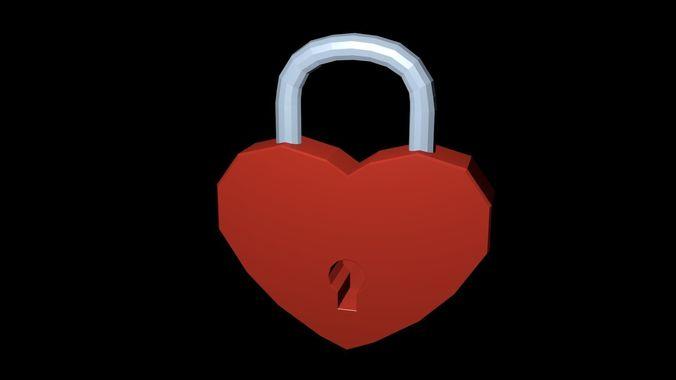 low poly lock heart 3d model low-poly obj mtl 3ds fbx blend x3d ply 1