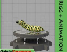 Monarch Larva 3D model animated