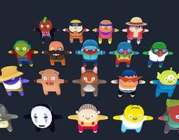 Cartoon characters pack 02 3D asset