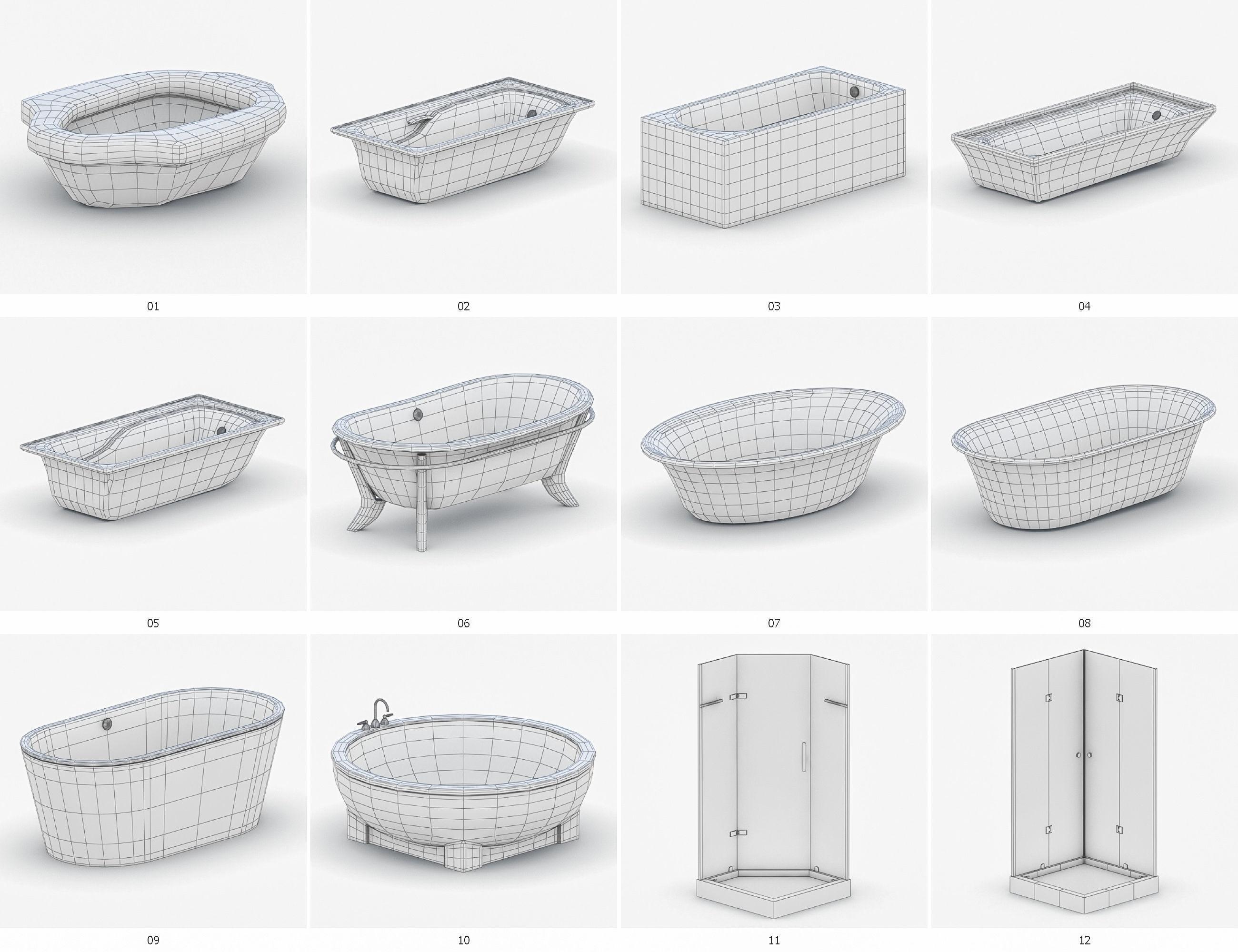 Bathroom Vol 4 - Bathtub and Showers 3D asset game-ready