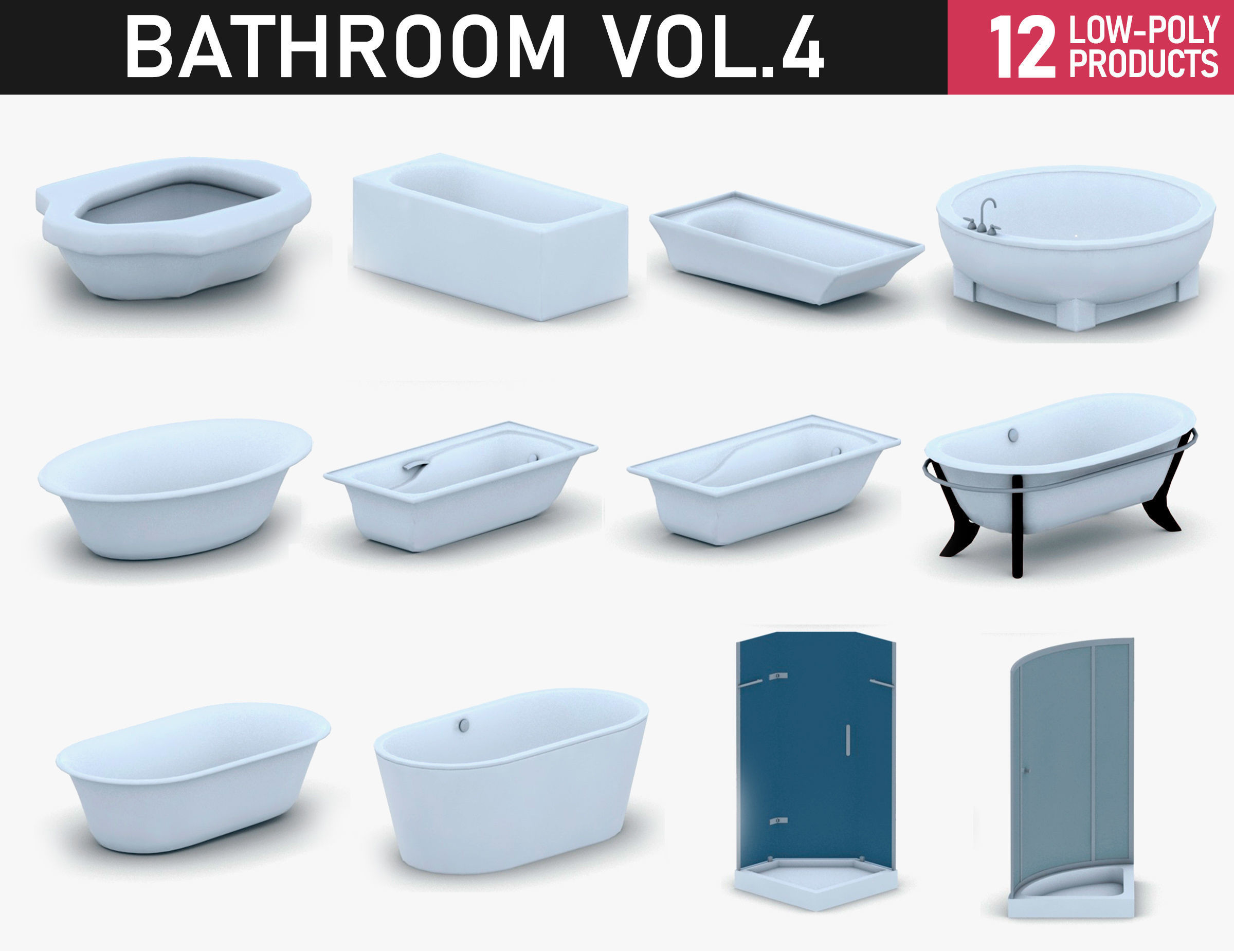 Bathroom Vol 4 - Bathtub and Showers 3D asset game-ready