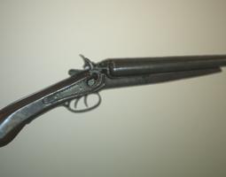 low poly sawed- off double barrel shotgun  3d asset