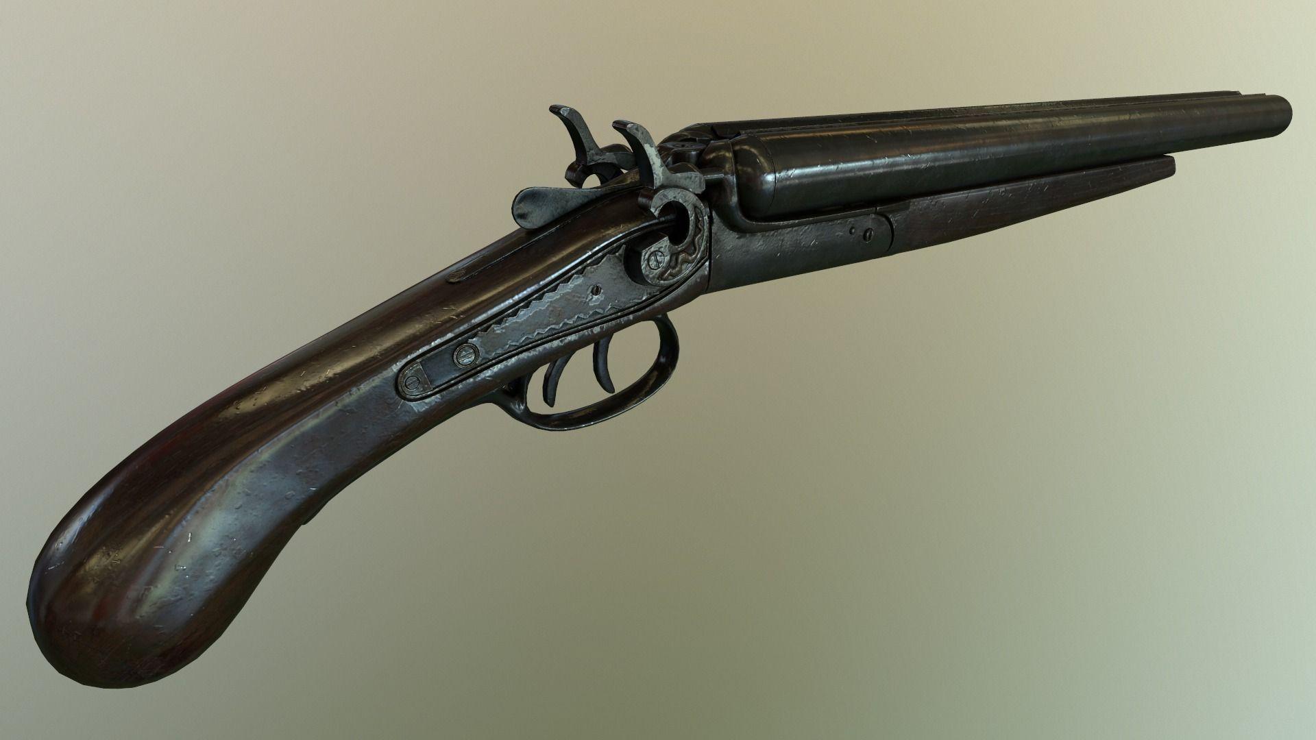 3D model Low poly Sawed- off Double barrel shotgun VR / AR ...