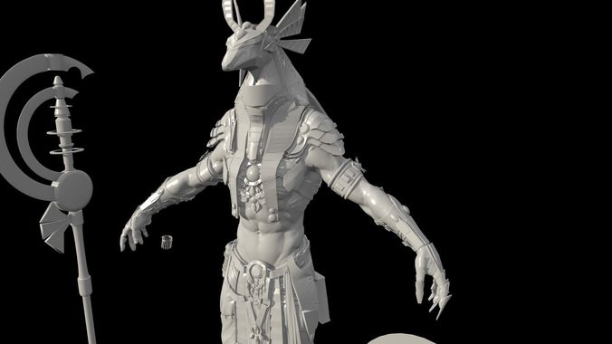 anubis hig poly zbrush project 3d model obj mtl 1