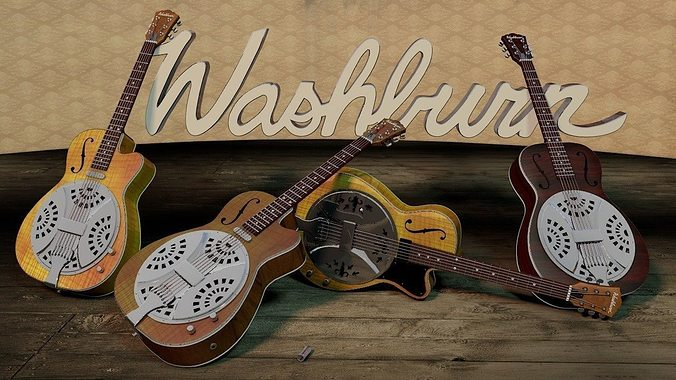 3d model washburn resonator guitar cgtrader. Black Bedroom Furniture Sets. Home Design Ideas