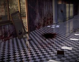 3D model School Locker Horror sceen