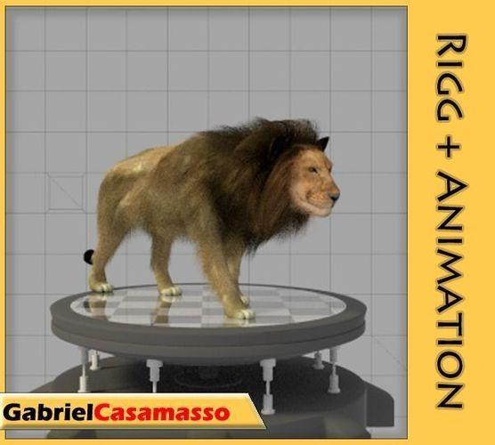 lion rigged 3d model fbx blend 1