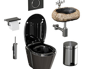 3D model Set of sanitary ware and accessories for bathroom