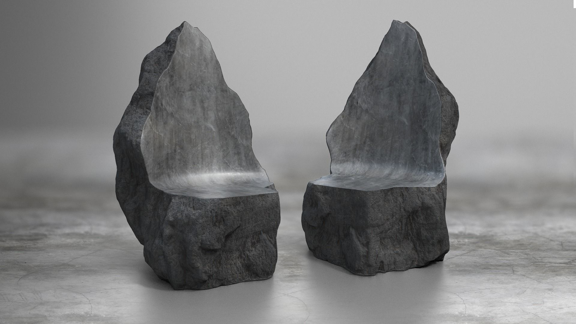Rock Stone Obelisk Sofa Chair 3D Model