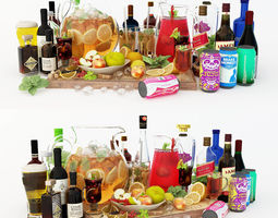 Collection of Alcoholic Drinks 3D model and fruits