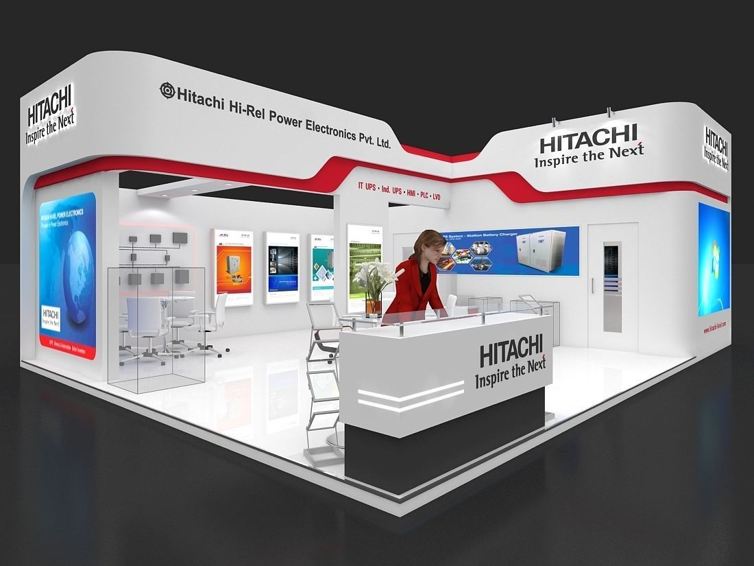 Exhibition Stall Arrangements : Exhibition stall 3d model 75 sq mtr 2 sides open 1