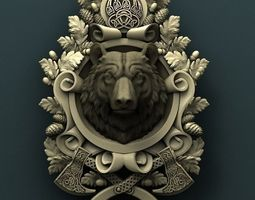 Bear medallion 3d stl model for cnc 3D print model