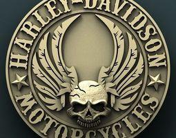 Harley Davidson medallion 3d stl model for cnc 3D print