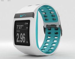Nike SportWatch GPS White Sport Turquoise 3D