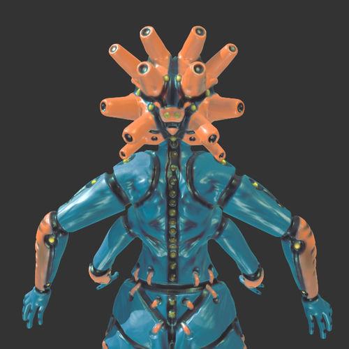 mech goddess 3d model obj mtl gltf glb 1