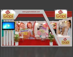 Exhibition stand 3d model 6x3 mtr 1 side open Gopi