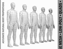 Male Body Base Mesh in Rest Pose 3D model low-poly