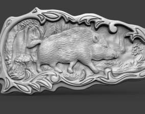 Boar bas refief 3D printable model