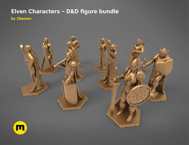 elf characters   game figures bargain bundle 3d model obj mtl stl 1